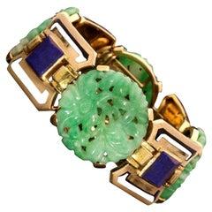 Gerard Sandoz 1928 Art Deco Gold, Jade, Lapis Lazuli and Enamel Bracelet