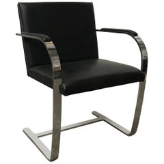 1928, Ludwig Mies van der Rohe, Knoll Brno Chair in Black Leather