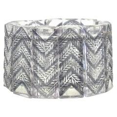 1928 René Lalique Bracelet Fougeres Clear Glass Grey Patin, Ferns