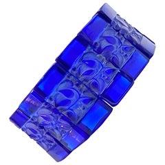 1928 René Lalique Cerisier Bracelet Cobalt Blue Glass White Patina, Leaves