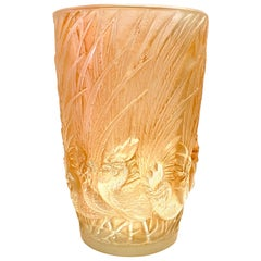 1928 Rene Lalique Coqs et Plumes Vase in Frosted Glass with Sepia Patina