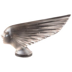 1928 René Lalique Victoire Car Mascot Hood Ornament in Frosted Glass