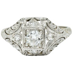 1929 Art Deco Diamond Platinum-Topped 18 Karat White Gold Engagement Ring