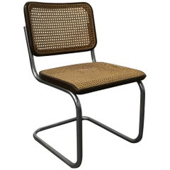 1929, Marcel Breuer for Thonet, Original Early S32 in Wicker and Black Frame