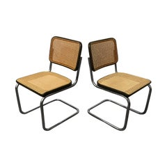1929, Marcel Breuer for Thonet, Set Original Early S32 in Wicker and Black