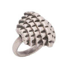 1929 Rare Jean Despres Art Deco Silver Geometric Ring