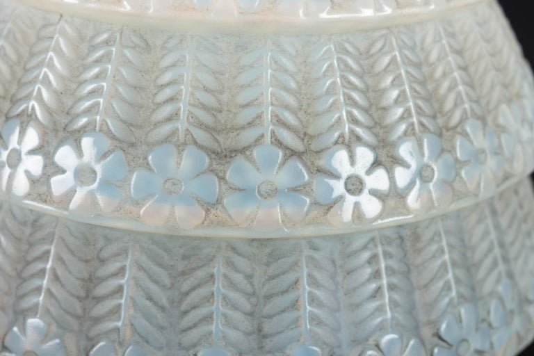 1929 René Lalique Ferrieres Vase in Cased Opalescent Glass with Grey Patina 2