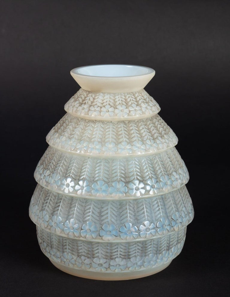 Art Deco 1929 René Lalique Ferrieres Vase in Cased Opalescent Glass with Grey Patina