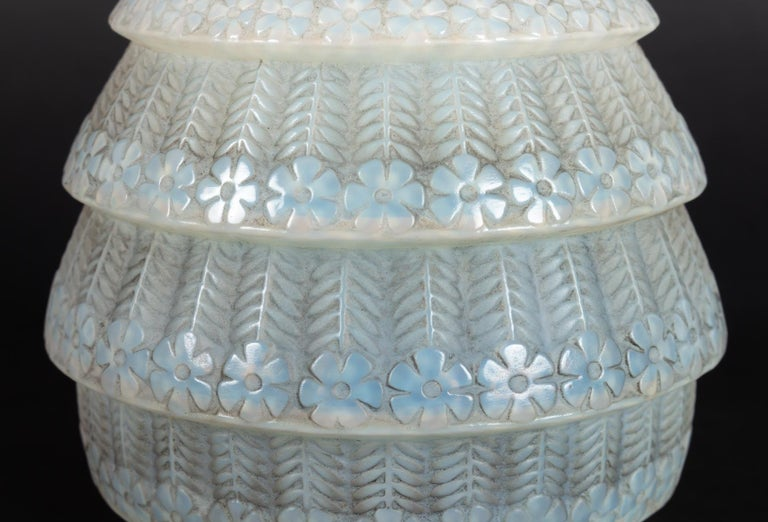 French 1929 René Lalique Ferrieres Vase in Cased Opalescent Glass with Grey Patina
