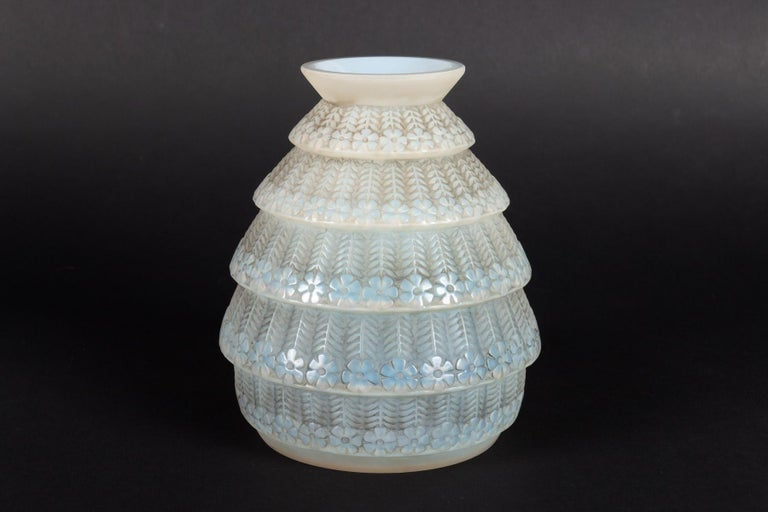 Early 20th Century 1929 René Lalique Ferrieres Vase in Cased Opalescent Glass with Grey Patina