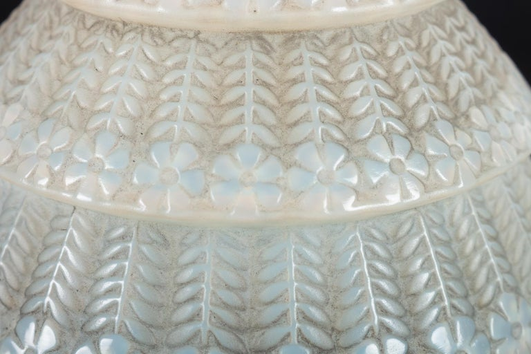 1929 René Lalique Ferrieres Vase in Cased Opalescent Glass with Grey Patina 1