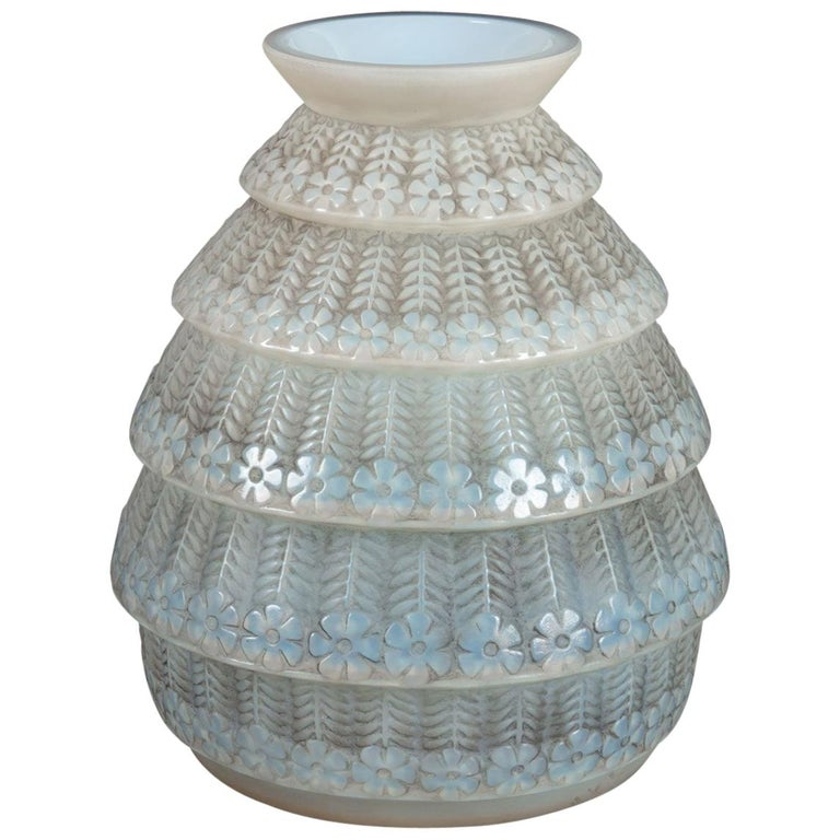 1929 René Lalique Ferrieres Vase in Cased Opalescent Glass with Grey Patina