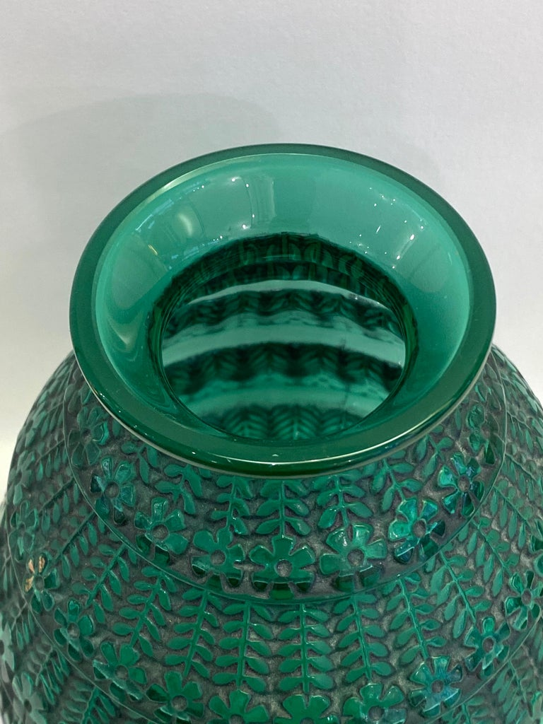 Molded 1929 René Lalique Ferrieres Vase in Emerald Green Glass with Black Patina