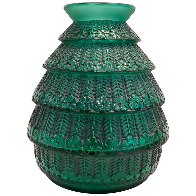 1929 René Lalique Ferrieres Vase in Emerald Green Glass with Black Patina