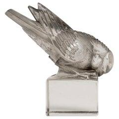 1929 René Lalique Moineau Ailes Croisées Paperweight Glass & Grey Patina Sparrow