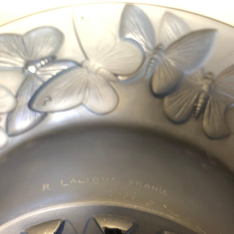 1929 René Lalique Phalenes Bowl Navy Blue Glass, Butterflies, Moths For Sale 3