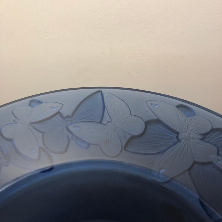 Molded 1929 René Lalique Phalenes Bowl Navy Blue Glass, Butterflies, Moths For Sale