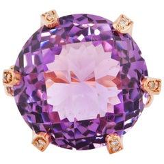 19.3 Carat Amethyst, Pink Tourmaline and Diamond Ring in 14 Karat Rose Gold