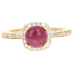 1.93 Carat Cabochon Ruby Diamond 14 Karat Engagement Ring