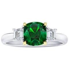 1.93 Carat Cushion Green Tsavorite and Diamond Platinum and 18k Yellow Gold Ring