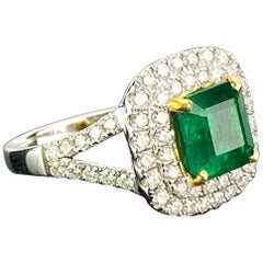 1.93 Carat Emerald and Diamond Engagement Ring