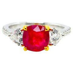 1.93 Carat GIA Certified Burma No Heat Pigeon's Blood Red Ruby and Diamond Ring
