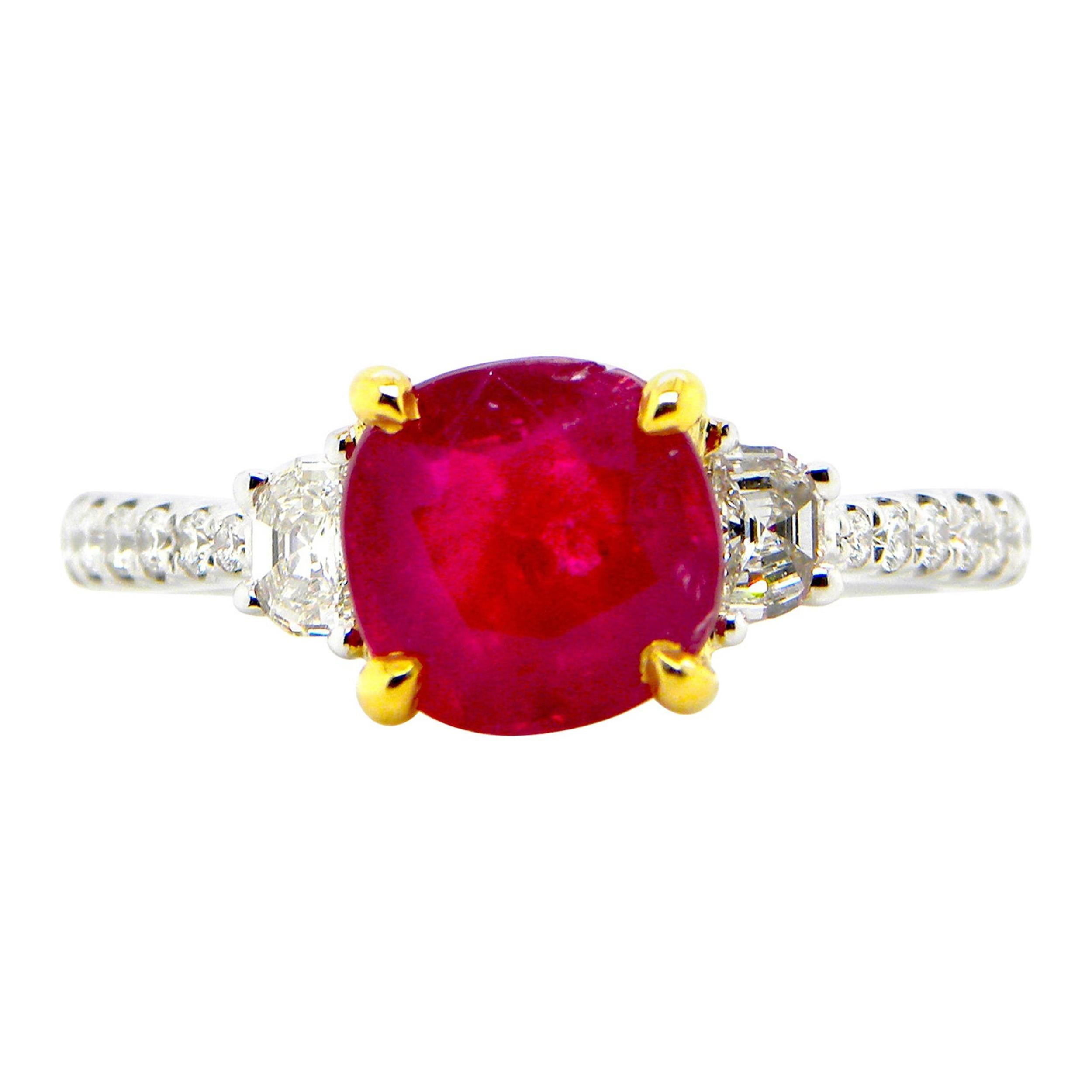 1.93 Carat GIA Certified Unheated Vivid Red Burmese Ruby and Diamond Gold Ring