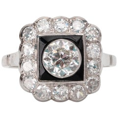 1.93 Carat Old Cut Diamond Ring with Black Onyx White Gold Square Halo Ring