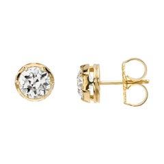 1.93 Carat Old European Cut Diamonds Set in Handcrafted 18k Gold Stud Earrings