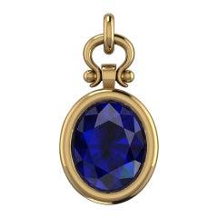 1.93 Carat Oval Cut Blue Sapphire Custom Pendant Necklace in 18k