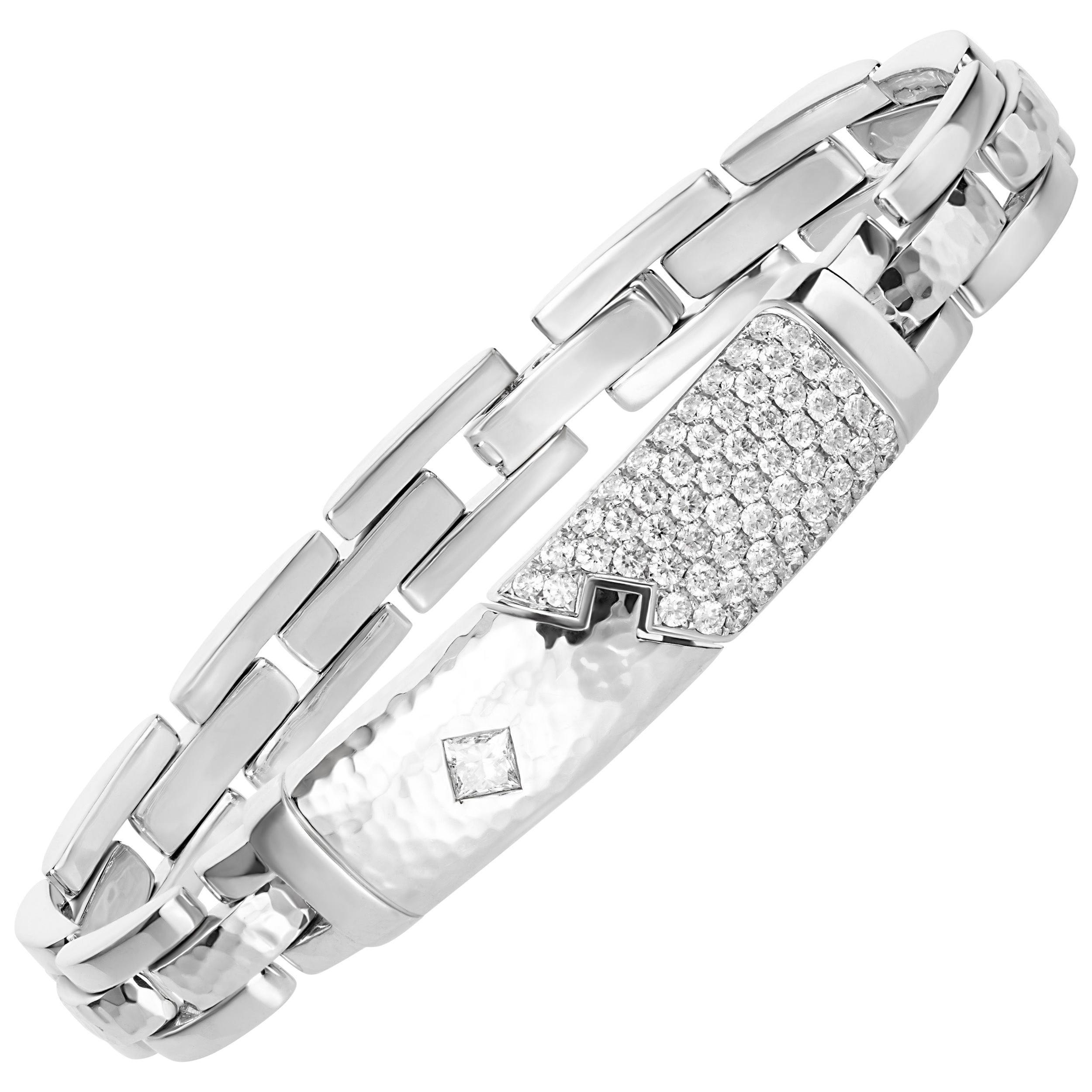 1.93 Carat Princess Brilliant Cut Diamond 18 Karat White Gold Link Bracelet