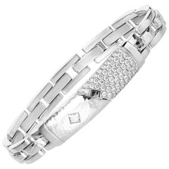 1.93 Carat Princess Brilliant Cut Diamond 18 Karat White Gold Link Bracelet