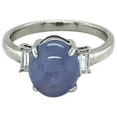 1.93 Carat Purple Star Sapphire Cabochon Platinum Ring