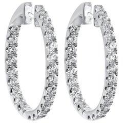 1.93 Carat Round Diamond Oval-Shaped Hoop Earrings