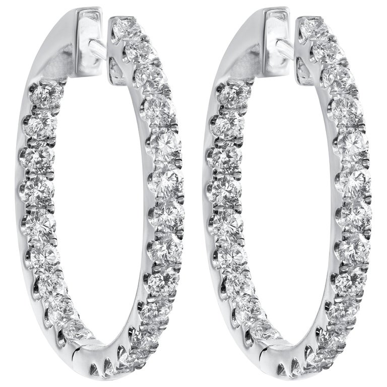 1 93 Carat Round Diamond Oval Shaped Hoop Earrings For