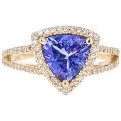 1.93 Carat Tanzanite Diamond 14K Yellow Gold Engagement Ring