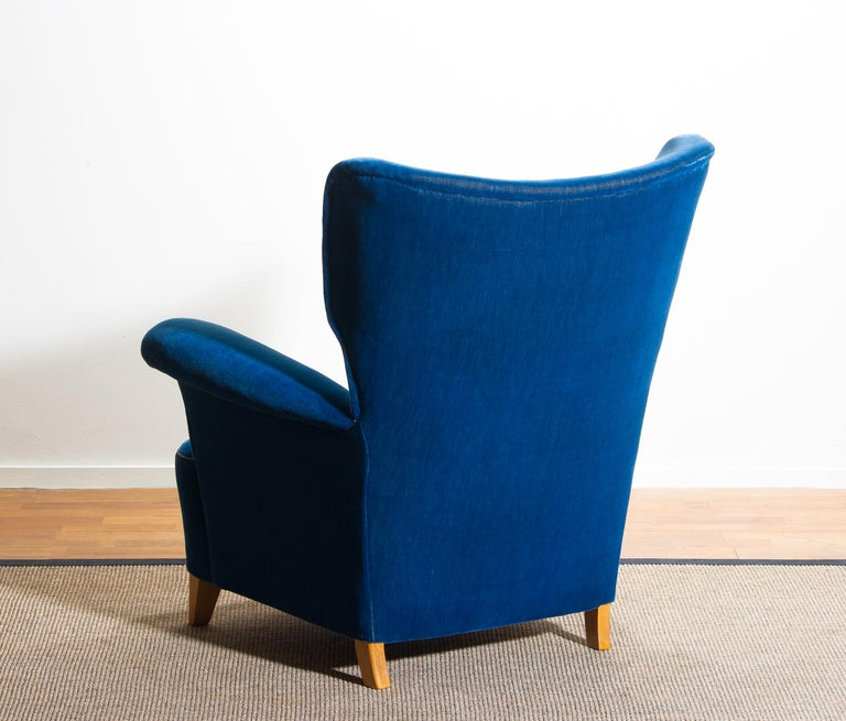 1930 1940 Scandinavian Royal Blue Velvet Wingback Chair For Sale At
