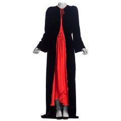 1930 - 1940s Bias Silk Velvet Dressing Gown Peignoir Robe