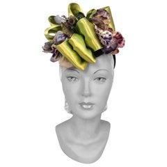 1930/1940s Chartreuse Satin and Violet Velvet Flower Cocktail Hat