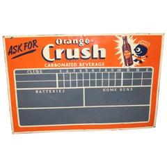 1930s-1940s Orange Crush Tin Advertising Scoreboard Sign