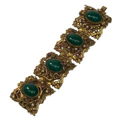 1930/40s Ornate 4 Panel Wide Gold Bracelet