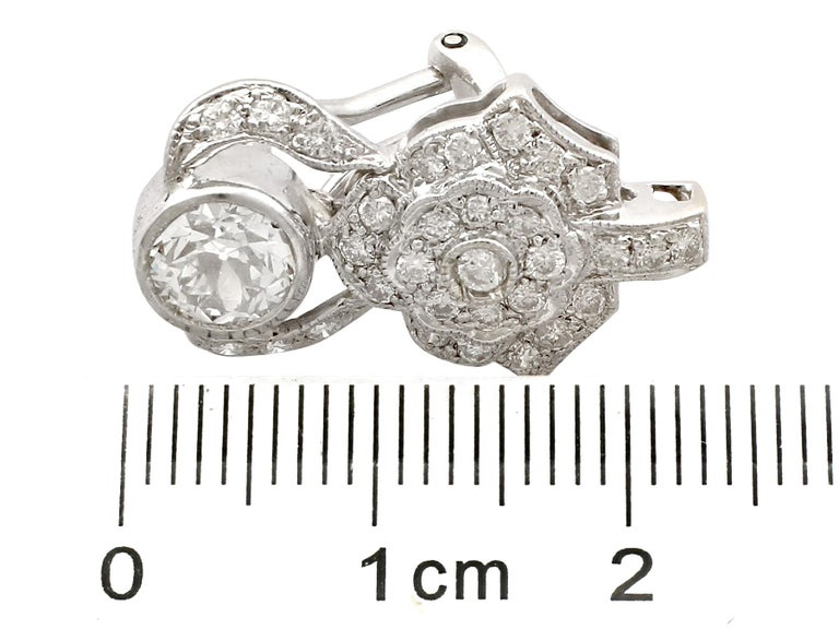 1930 Antique 3.03 Carat Diamond and White Gold Earrings For Sale 2