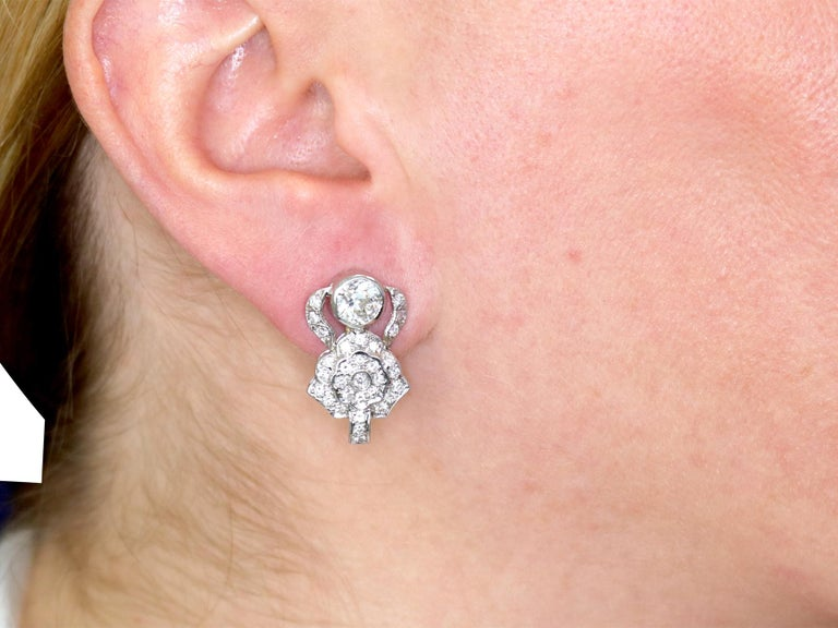1930 Antique 3.03 Carat Diamond and White Gold Earrings For Sale 4