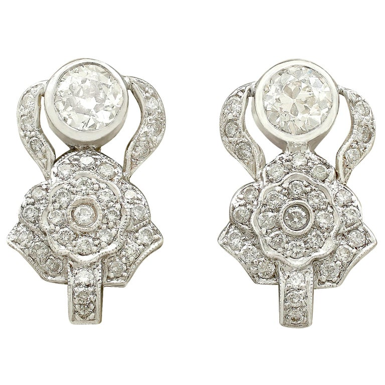 1930 Antique 3.03 Carat Diamond and White Gold Earrings For Sale