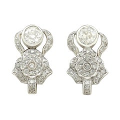 1930 Antique 3.03 Carat Diamond and White Gold Earrings