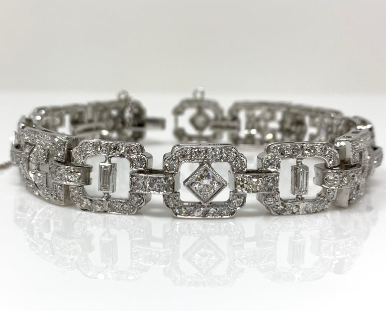 This gorgeous meticulously handcrafted and unique bracelet is sure to get everybody's glance.  Diamond weight : 9 carat  Metal: Platinum  Measurements : Length : 7 inches