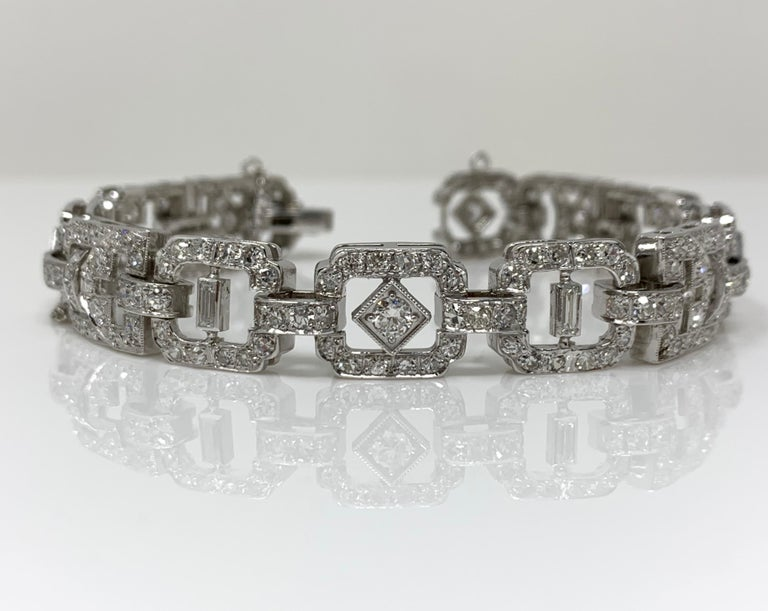 Women's or Men's 1930 Antique 9 Carat White Diamond Bracelet in Platinum For Sale