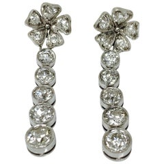 1930 Antique Old European Cut Diamond Earrings in Platinum