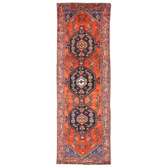 1930 Antique Persian Malayer Runner Rug with 3 Large Medallions on Center Field