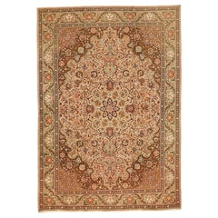 1930 Antique Tabriz Rug with Pink and Brown Flower Details on Ivory Field